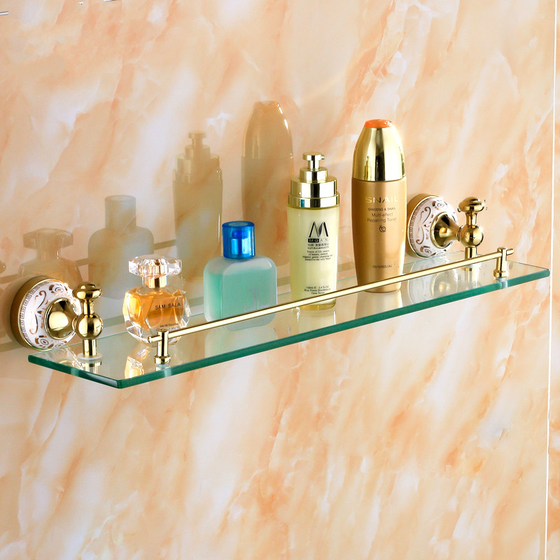 Vintage Copper Gold Glass Shelf Plated Glass Single Makeup Bathroom Towel Rack 55 Cm Length Bathroom Accessories Products J-3 free shipping golden single bathroom shelf glass shelf brass made base glass shelf bathroom hardware bathroom accessories 67011