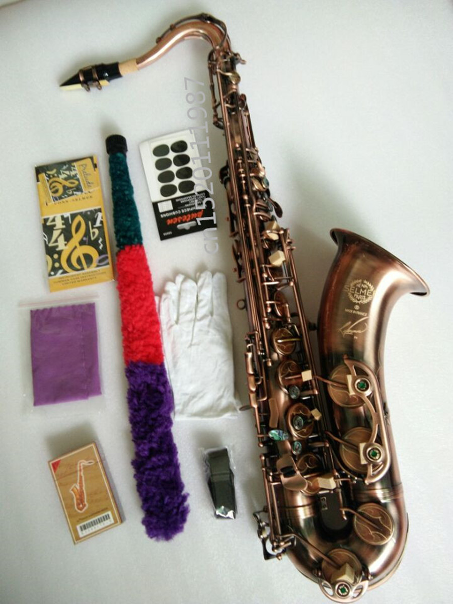Tenor Saxophone instrument High quality SELMER Sax Antique copper Saxophone Perfect tone quality Complete fittings Free shipment tenor saxophone instrument new selmer high quality saxophone tenor sax antique copper free shipping saxophone