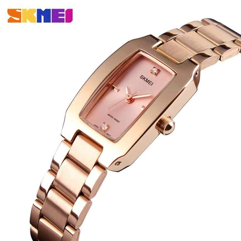 SKMEI זהב כסף צבע אופנה דק קוורץ שעון אופנה שעונים גבירותיי שמלת יוקרה גבירותיי ריינסטון Relogio Feminino 1400