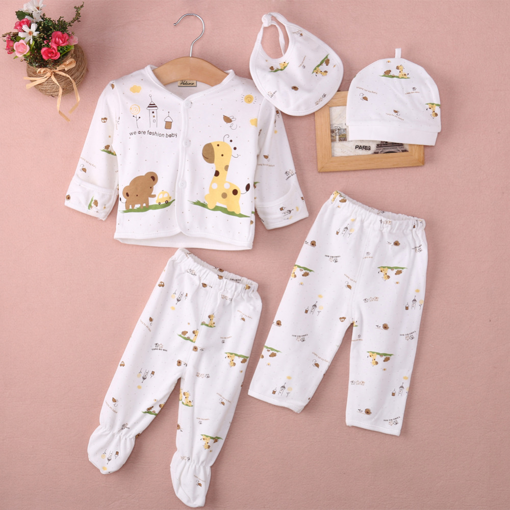 5pcs Baby Set !!!! Newborn Baby Boy Girls Cotton Clothes Sets Sleepwear Catton Long Pants 0-3 Month