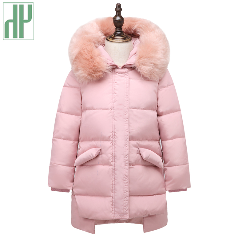 HH Girls winter coat thick children's down jackets Kids Outerwears fur collar hooded Long down Coats For Teenage Parka 4Y-12Y fashion teenage boys down jackets winter thick warm duck down coats for boys children fur collar hooded long sleeve outerwears