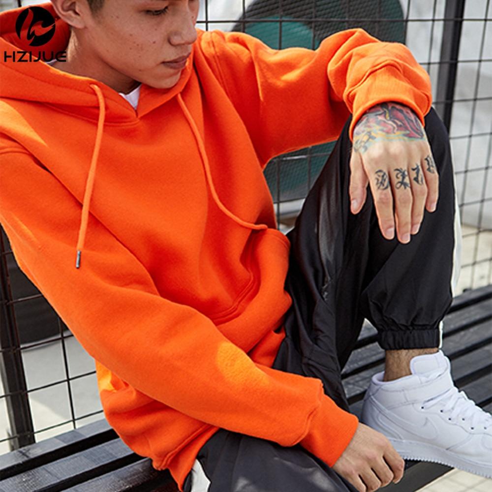 Brand Men Orange Spring Autumn Casual Hoodies Men's Sweatshirts Long Sleeve Solid Color Hooded Sweatshirt Male Pure Cotton