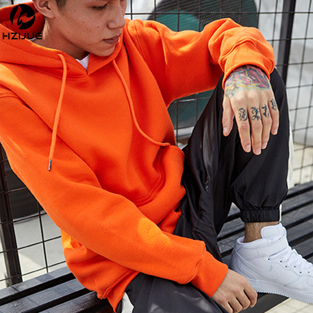 Brand Men Orange Spring Autumn Casual Hoodies Men's Sweatshirts Long Sleeve Solid Color Hooded Sweatshirt Male Pure cotton