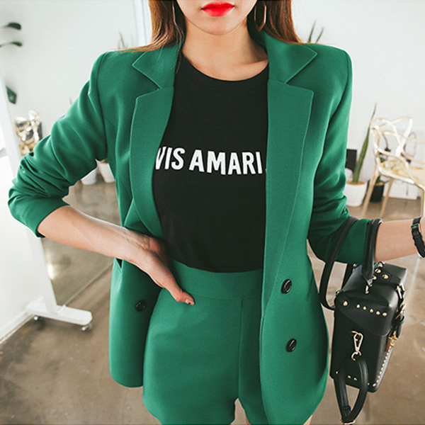 Small suit female suits in the long slim slim all match pure spring coat shorts Korean