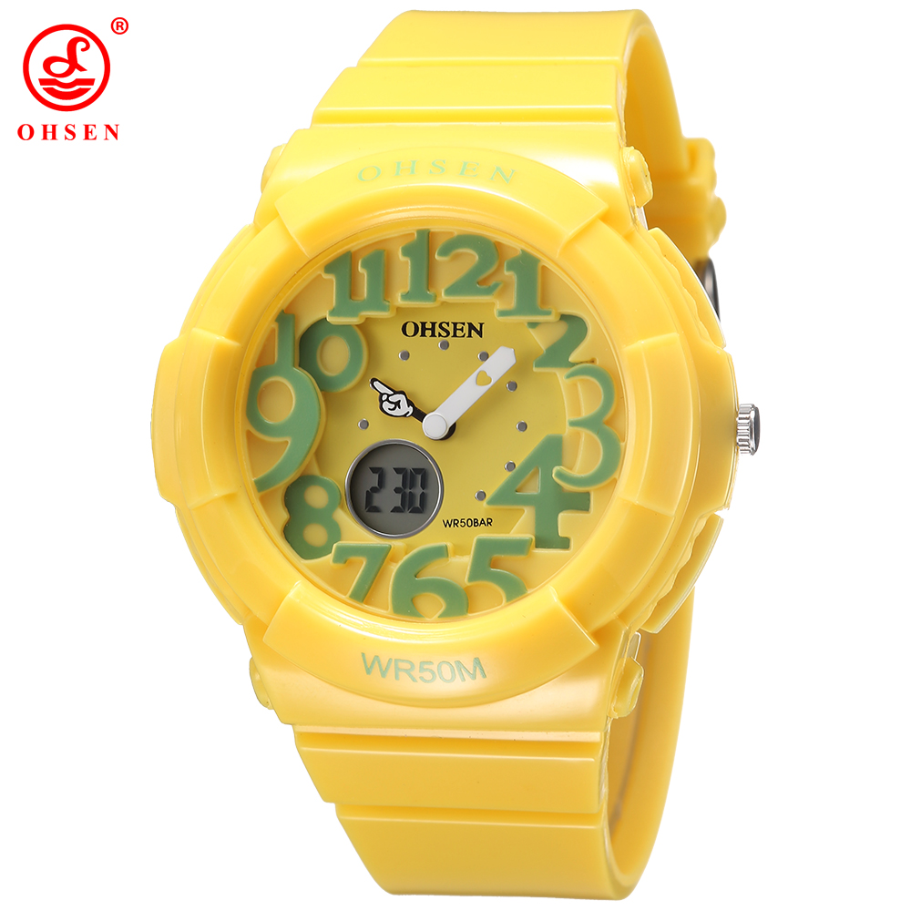 New 2016 OHSEN Digital Quartz Kids Boys Fashion Sports Wristwatch Rubber Band 30M Waterproof Yellow Cartoon Cute Children Watch