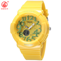 Nowy 2016 OHSEN cyfrowy kwarcowy dla dzieci chłopcy moda zegarek sportowy gumka 30M wodoodporny żółty kreskówka ładny zegarek dla dzieci w Zegarki dla dzieci od Zegarki na