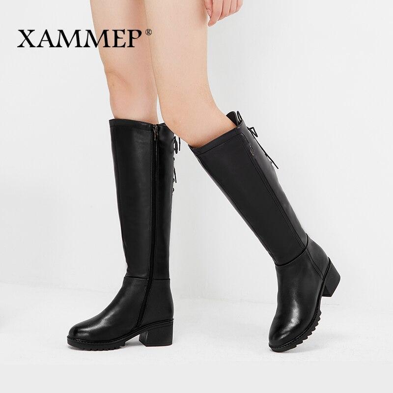 Marka kobiety zimowe buty oryginalne skórzane damskie zimowe buty naturalne wełniane damskie buty ciepłe wysokiej jakości buty do kolan w Kozaki do kolan od Buty na  Grupa 1