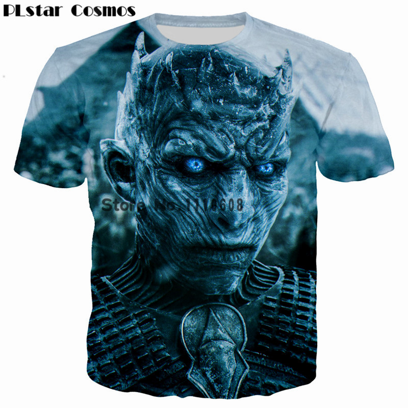 PLstar Cosmos Game of Thrones De witte wandelaars Ghost 3D Print Mannen / Vrouwen T-shirt casual heren t-shirt Tops Tees Cool t-shirt