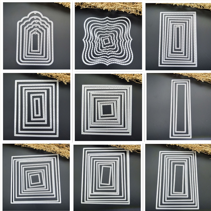Frames Square Card Curves Border  Making Scrapbooking Dies Metal Crafts Layering Metal Cutting Dies Greeting Card Handmade NEW