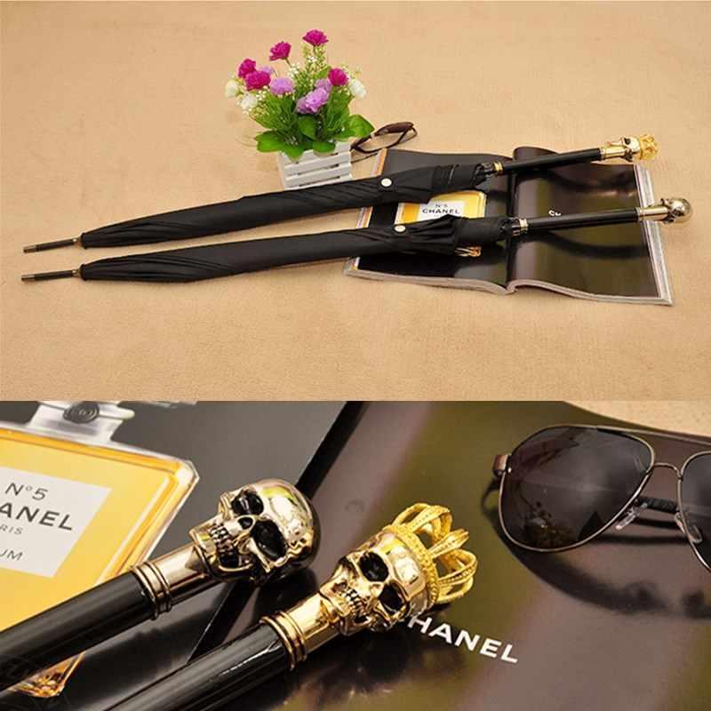 Gentleman serpent crâne Parapluie pour hommes et femmes automatique à longue poignée noir pas Parapluie Inverse élégant pas Parapluie Inverse