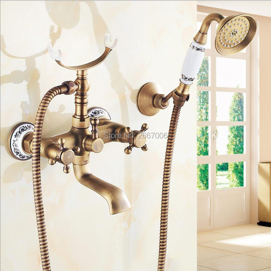 Free shipping Wall Mount Antique Brass Swivel Faucet With Porcelain Hand Shower Telephone Design Bathtub Shower Faucet Set ZR016 old antique bronze doctor who theme quartz pendant pocket watch with chain necklace free shipping