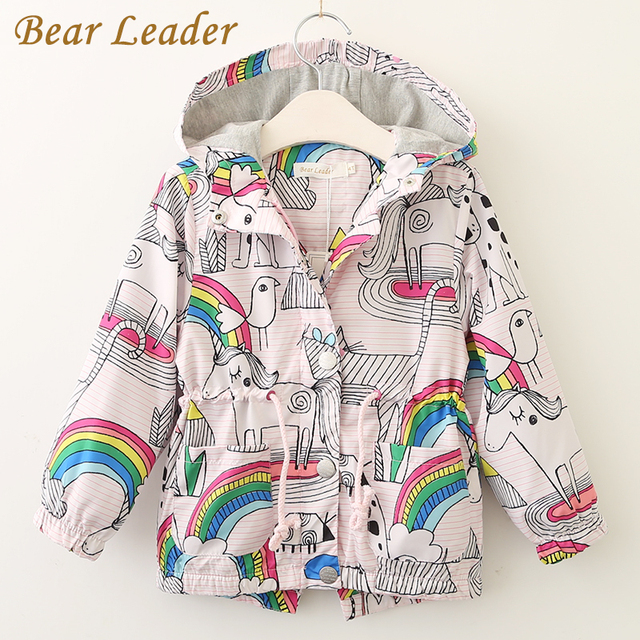 Bear Leader Girls Coats and Jackets Kids 2018 Autumn Brand Children For Girls Clothes Cartoon Print Outerwear Hooded For 3-7Y