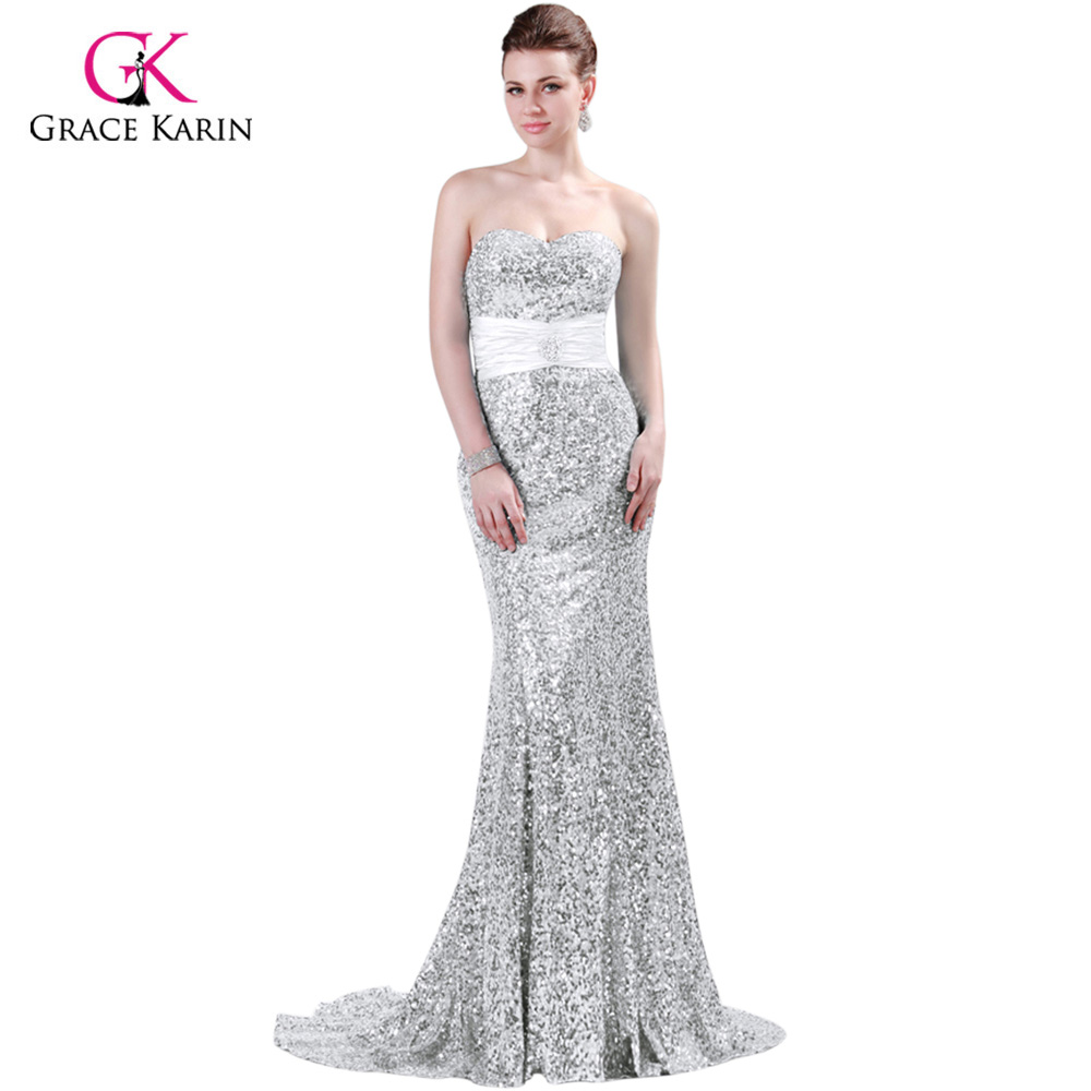 42e6c012494 Grace Karin Gold Mermaid Evening Dress 2018 Luxury Red Blue Silver Black  Formal Gown Robe de Soiree Sequins Evening Dresses-in Evening Dresses from  Weddings ...