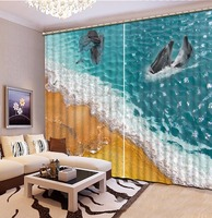 Cool Beach Shell 3D Curtains dolphin The Home Hotel Cafe Office Window Curtain Printing Kids Room Curtains