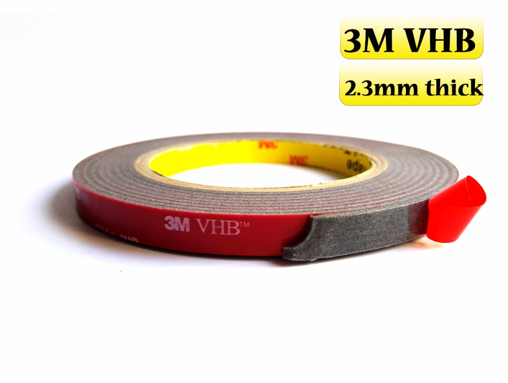 2.3mm thick, 5mm~50mm width choose,  3mters VHB Double-Sided Foam Tapes for Many surface, Glass, Metals, Woods, Car Parts etc. 10m super strong waterproof self adhesive double sided foam tape for car trim scotch