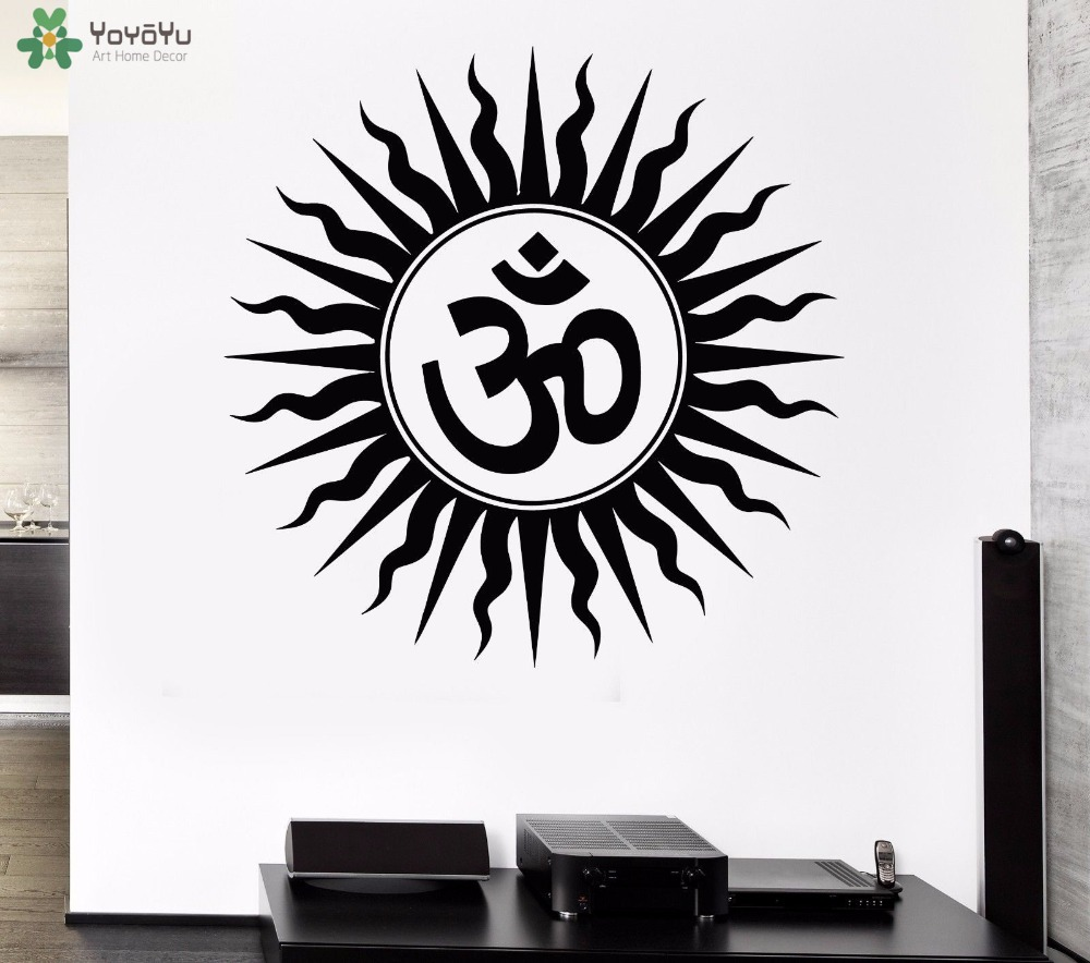 Us 574 30 Offyoyoyu Wall Decal Om Sign Hindu Religious Vinyl Wall Stickers Home Decor Yoga Studio Art Mural Namaste Removable Wallpaper Sy858 In