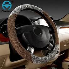 Hot Sale Skidproof Car Steering Wheel Cover Case Flax Fabric
