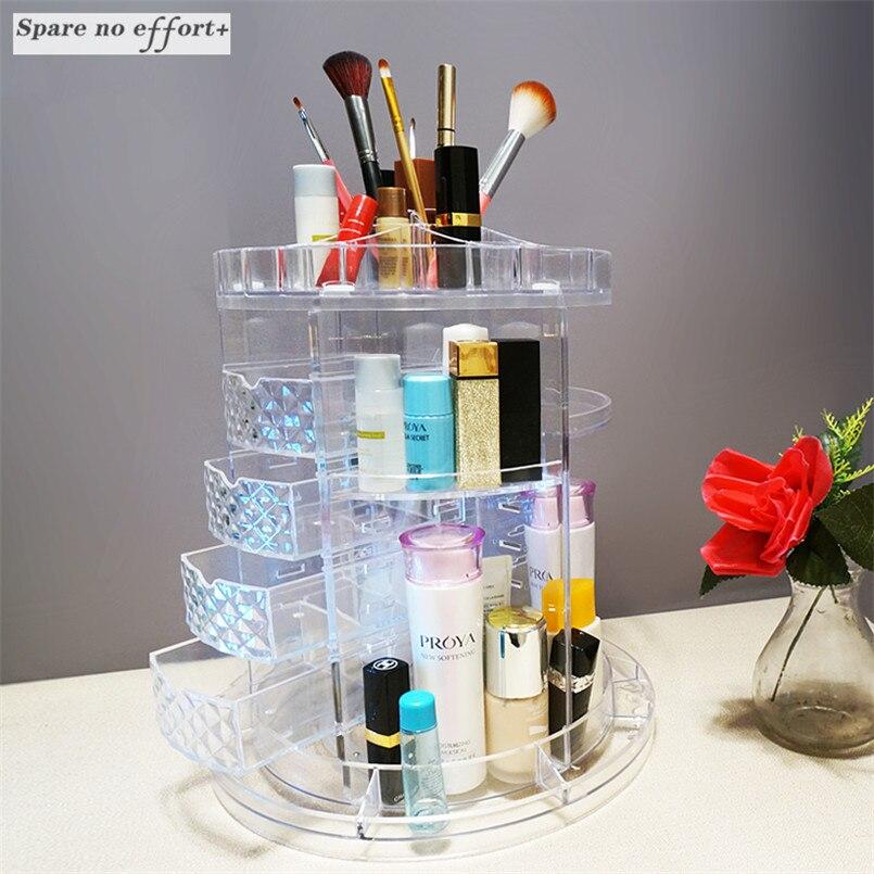 Rotation Makeup Organizer Drawer Cosmetics Box Transparent Maquillaje Storage Rack Boite De Rangement Plastique Transparent