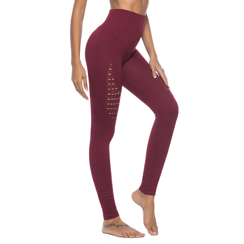 Sexy Wine red Women   Leggings   honeycomb Solid Color High Waist   Legging   Female seamless Sportswear Leggins Women Workout   Leggings
