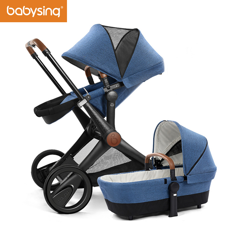 Babysing Baby Stroller High Landscape Can Sit & Lie 4 Wheels Baby Pram Foldable Luxury Infant Pushchair with Bassinet XGO New luxury baby stroller high landscape baby carriage for newborn infant sit and lie four wheels