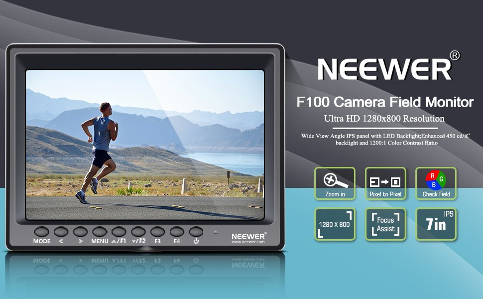 US $119 99 |Neewer F100 7 inch 1280x800 IPS Screen Camera Field Monitor  support 4k input HDMI Video For DSLR Mirrorless Camera SONY A7S II-in Photo