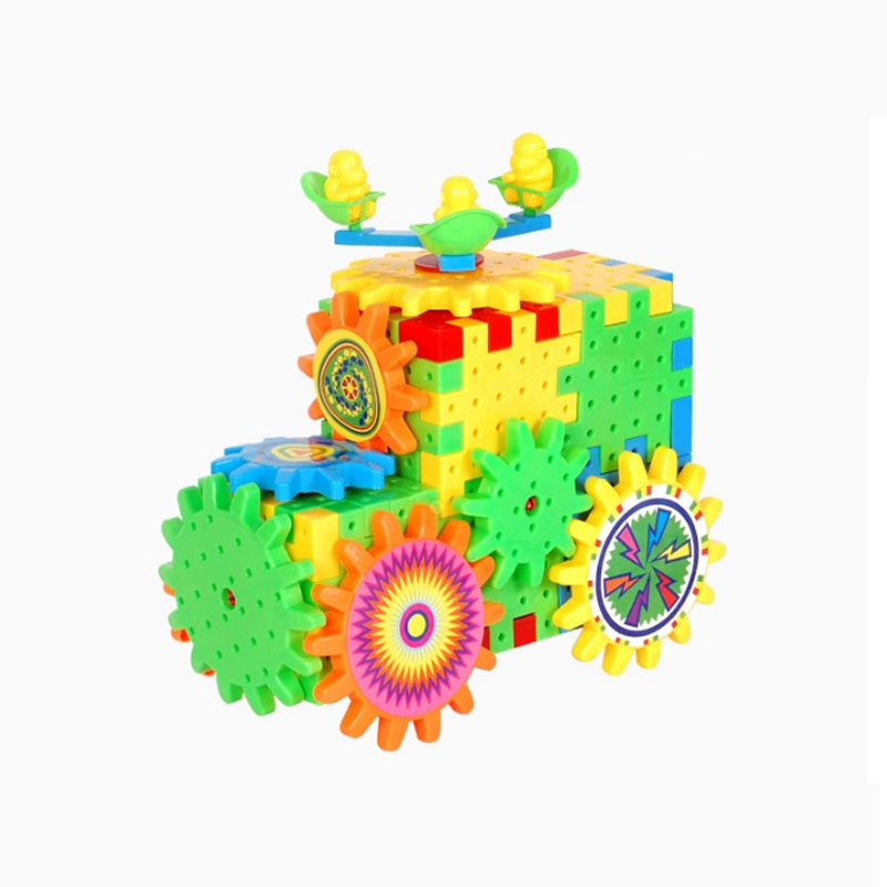 Image 3 - QWZ 81 PCS Electric Gears 3D Model Building Kits Plastic Brick Blocks Educational Toys For Kids Children Gifts-in Blocks from Toys & Hobbies