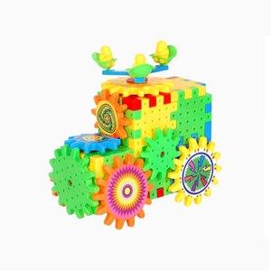 Image 3 - QWZ 81 PCS Electric Gears 3D Model Building Kits Plastic Brick Blocks Educational Toys For Kids Children Gifts