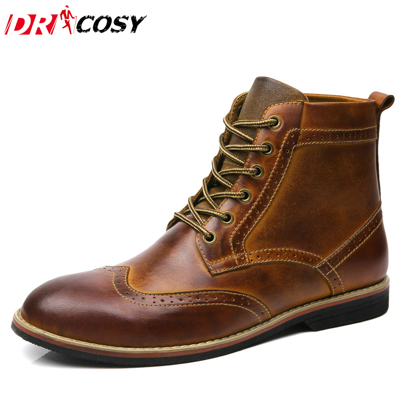 Fashion British Genuine Leather Fur Men S font b Boots b font High Top Casual Brogue