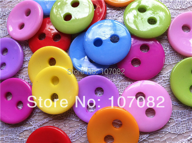 200pcs 28mm Mixed Large Hole Round 2 Holes Buttons Plastic Scrapbooking Button Embellishments for Jewelry Making Necklace