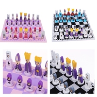 2 Set Playset Universal Standard Wooden Chess Board Game Set Handcrafted Wood Game Pieces for Children Family Party Fun Games