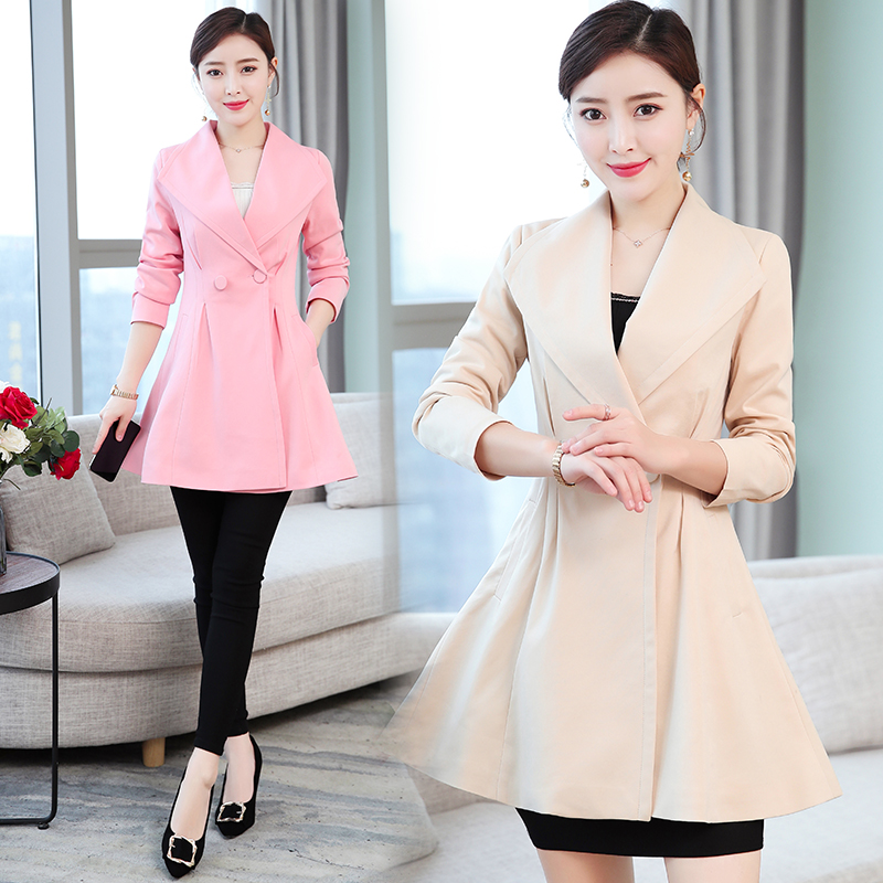 b 2019 new fashion women 39 s spring and autumn skirts windbreaker jacket women 39 s long section slim suit jacket in Jackets from Women 39 s Clothing