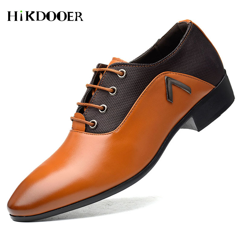 New Arrival Men Formal Shoes Breathable Lace-up Flat Business Pointed Toe Wedding Shoes PU Leather Male Dress Shoes