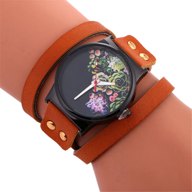 Fashion Women Watches Flower Print Vintage Leather Band Ladies Analog Quartz Wri