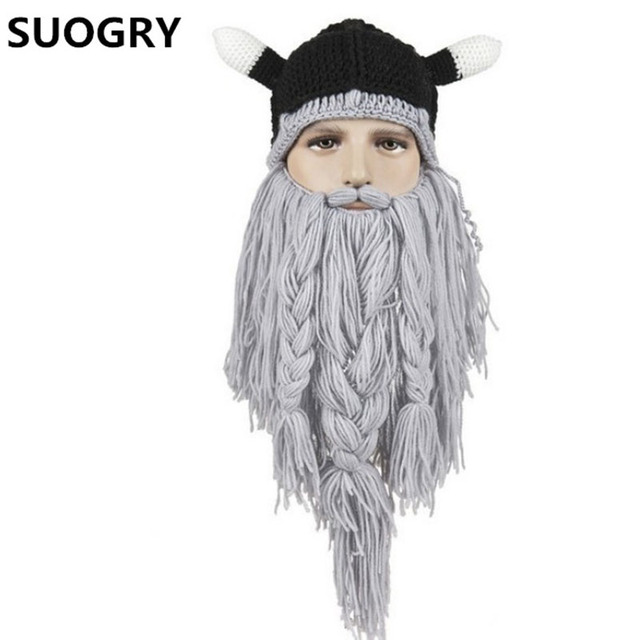 Handmade Viking Horns Beard Horn Hat Wonderful Wool Cotton Cap Stage Props Pirate Hat Vikings Goat Horn Mask Long Beard Cosplay