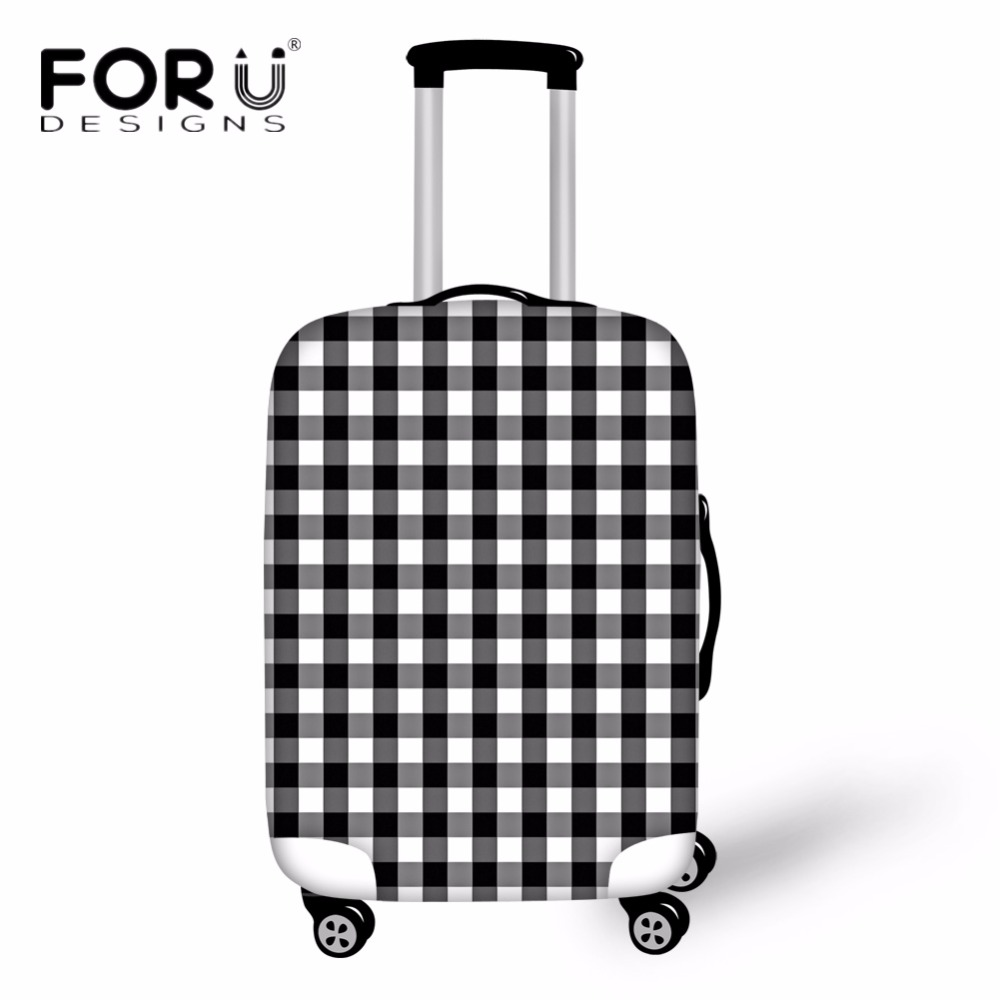 FORUDESIGNS Fashion Lattice Pattern Spandex Travel Accessories Luggage Protective Cover for 18-30 Suitcase Rain Dust Cover