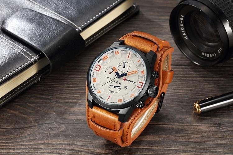 HTB1nBj.cqSs3KVjSZPiq6AsiVXaW CURREN Top Brand Luxury Mens Watches Male Clocks Date Sport Military Clock Leather Strap Quartz Business Men Watch Gift 8225