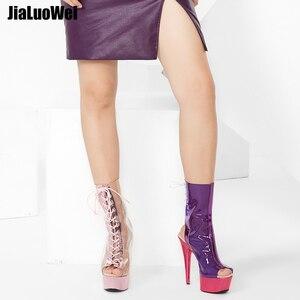 Image 5 - Jialumowei botas femininas, botas de tornozelo peep toe, lace up, transparente, pvc, metálico, plataforma fina, 15cm 2018 sapatos de salto alto,