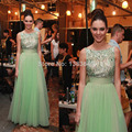 Mint Green kendall Jenner Celebrity Dress Wholesale Cap Sleeves Beading Top Tulle Prom Evening Gowns 2016 vestidos de festa