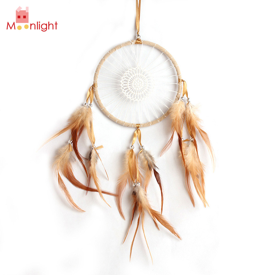 BEST Indian Dream Catcher Brown Feather Dream Catchers Wall Hanging Decoration Home Decor Folk Craft