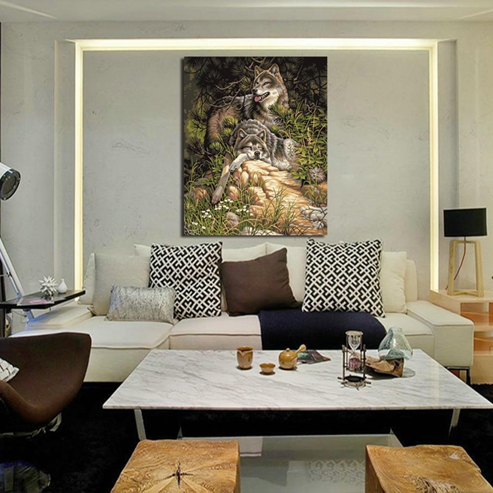 High Definition Inkjet Malerei Doppel Wolf Leinwand ölgemälde Haus ...