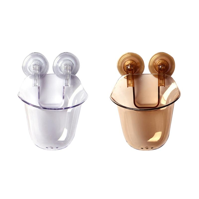 2PCS Bathroom Toothbrush Holder Wall Mount Suction Cup Toothpaste Storage Rack