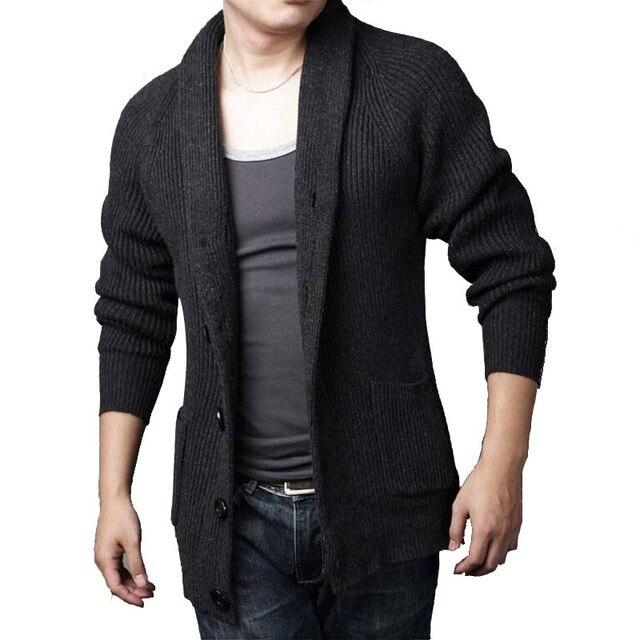 Herbst Winter Herren Strickjacke Pullover Baumwolle Und Wolle Männlichen  Gestrickten Pullover Halten Warmen Mantel Kleidung 5600511f4f