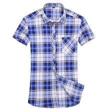 2017 Summer Men Shirts Male Short Sleeved Multicolor Plaid Shirt Dress Slim Fit Men'S Business&Casual Shirt Large Size 5xl