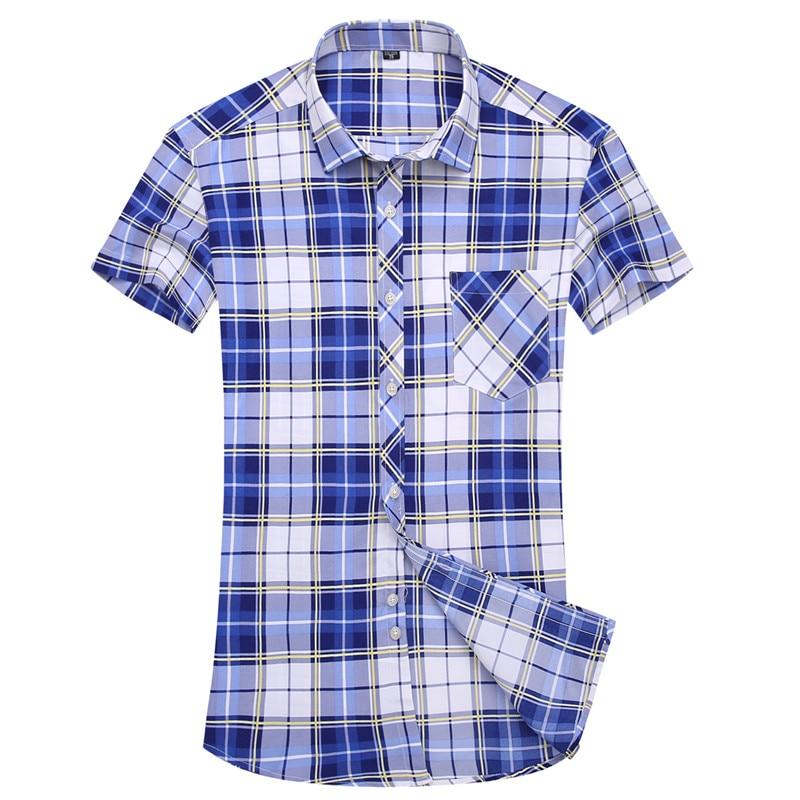 2017 poletne moške majice moške kratke rokave, večbarvne karirane - Moška oblačila