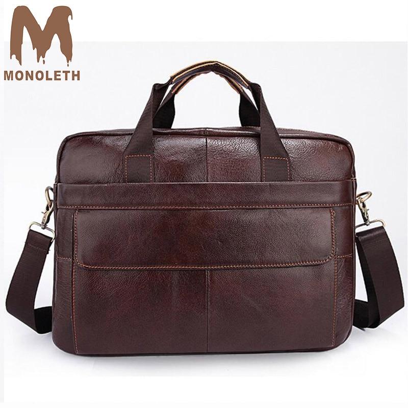 MONOLETH Men Briefcases Genuine Leather Handbag Vintage 14 inch Laptop Briefcase Messenger Shoulder Bags Men's Bag цена