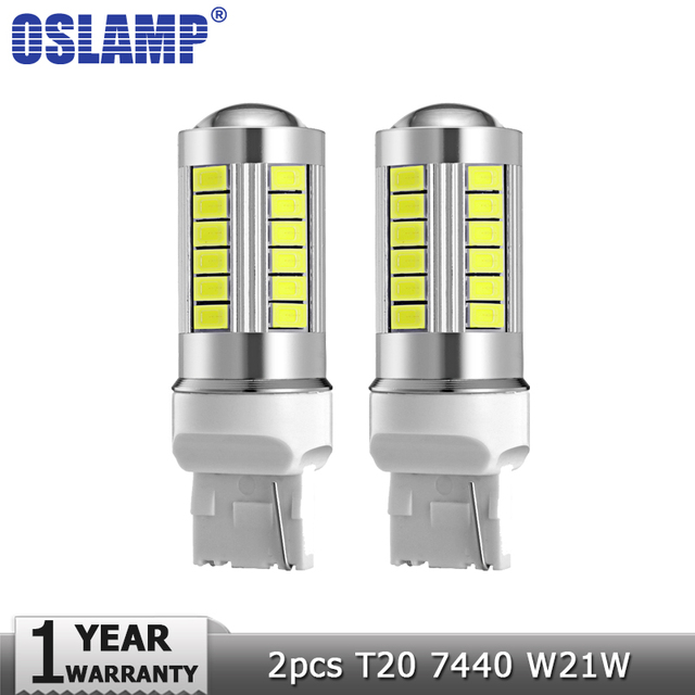 Oslamp 2pcs T20 7440 W21W Car Led Light Bulb White 6000K 12v Brake Lights  Clearance Light