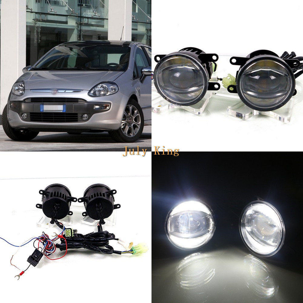 July King 1600LM 24W 6000K LED Light Guide Q5 Lens Fog Lamp +1000LM 14W Day Running Lights DRL Case for Fiat Puntto EVO 2010-12 for opel astra h gtc 2005 15 h11 wiring harness sockets wire connector switch 2 fog lights drl front bumper 5d lens led lamp