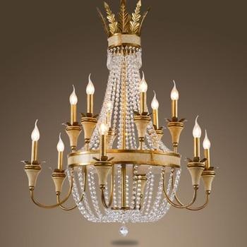 Grote opknoping Licht Grote kristallen kroonluchter verlichtingsarmatuur hotel culb lobby Classic kroonluchters Retro kroonluchter lampen