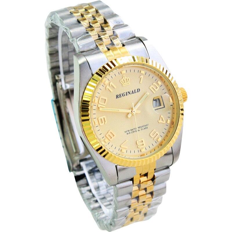 HK Luxury REGINALD Brand Mens Dress Style Full Stainless Steel Band Golden Men Quartz Watch Calendar Waterproof Quartz Watches