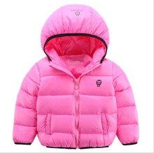 2016 новых осенью и зимой детская хлопка с капюшоном пуховик сплошной цвет длинным рукавом случайные теплые толстые дети вниз куртка